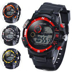Xinjie 931 LED Military Watch Light Week Alarm Round Dial for Sports - BLACK