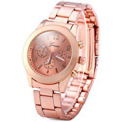 Geneva Non-functioning Sub-dials Quartz Watch Round Dial Steel Band for Lady