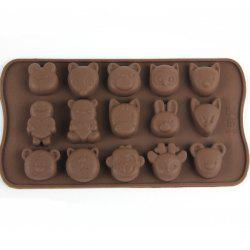 15 Ice Grids Lovely Animals Style Chocolate Pudding Ice Cube Tray - BROWN