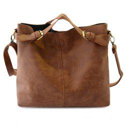 Simple Style Solid Color and Buckle Design Women's Tote Bag -