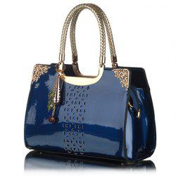 Trendy Openwork and Pandent Design Women's Patent Leather Tote Bag -
