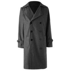Solid Color Turndown Collar Elegant Double-Breasted Long Sleeves Woolen Trench Coat For Men