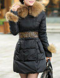 Stylish Hooded Solid Color Black Coat For Women - BLACK M