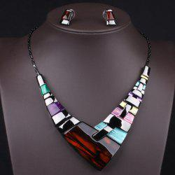 A Suit of Statement Geometric Faux Gem Necklace and Earrings -