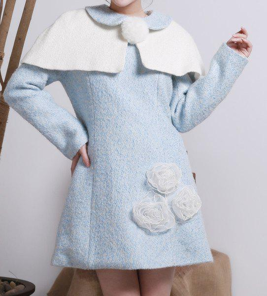Trendy Sweet Round Neck Long Sleeve Stereo Flower Embellished Dress + Cape Women's Twinset