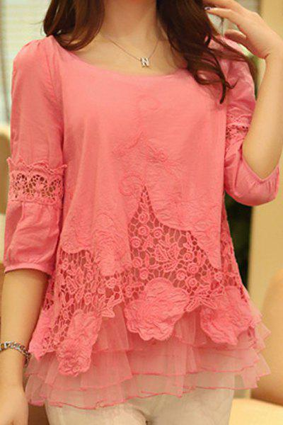 Shops Stylish Scoop Neck 3/4 Sleeve Spliced Solid Color Women's Blouse