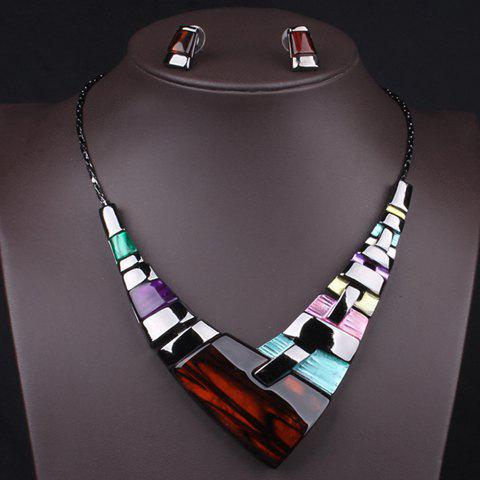 Buy A Suit of Statement Geometric Faux Gem Necklace and Earrings