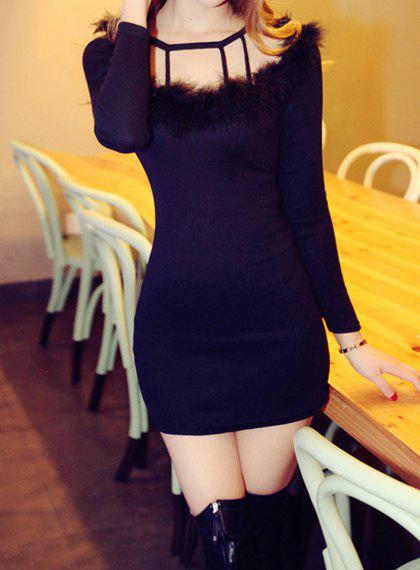 Sweet Round Collar Solid Color Faux Fur Splicing Long Sleeve Dress For Women