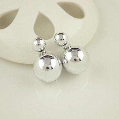 Pair of Ball Beads Stud EarringsJEWELRY<br><br>Color: SILVER; Earring Type: Stud Earrings; Gender: For Women; Style: Trendy; Shape/Pattern: Ball; Weight: 0.110KG; Package Contents: 1 x Earring(Pair);