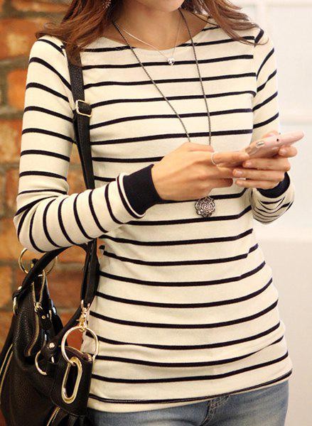 Best Stylish Striped Scoop Neck Long Sleeve T-Shirt For Women