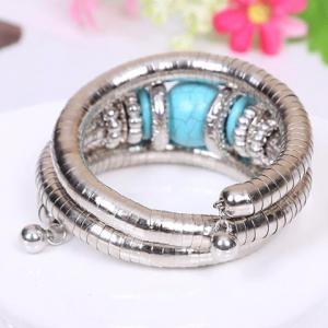 Retro Style Kallaite Embellished Multi-Layer Coiler Bracelet - SILVER/BLUE