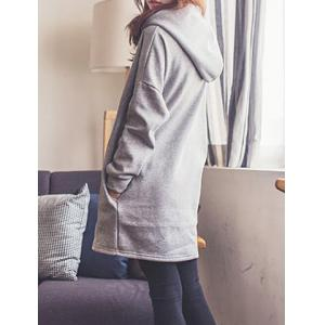 Simple Hooded Solid Color Loose-Fitting Flocking Long Sleeve Women's Dress -