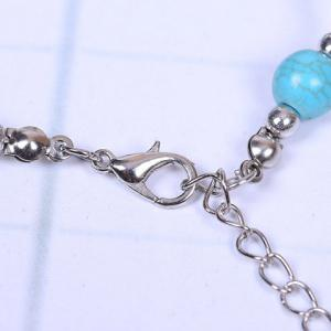 Faux Turquoise Cross Bracelet - SILVER AND BLUE