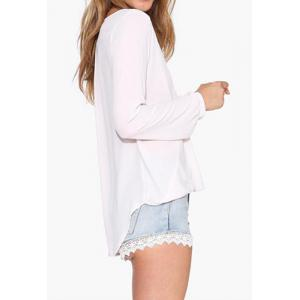 Stylish Plunging Neck Long Sleeve Solid Color Women's Blouse -