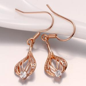 Pair of Openwork Gold Plated Rhinestone Drop Earrings -