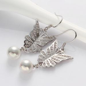 Pair of Cute Women's Rhinestone Faux Pearl Embellished Butterfly Earrings -