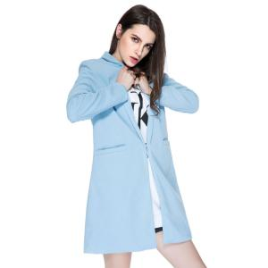 Simple Style Long Sleeve Stand Collar Solid Color Worsted Women's Coat -