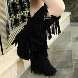 Trendy Suede and Fringe Design Women's Knee-High Boots -
