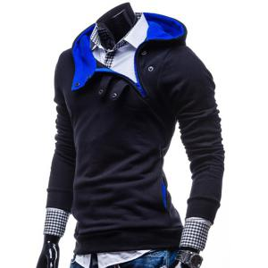 Stylish Hooded Slimming Color Splicing Zipper Design Long Sleeve Thicken Polyester Hoodie For Men - CADETBLUE M
