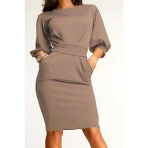 Belted Mini Skin Tight Work Dress