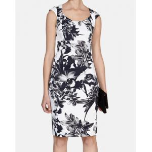 Floral Print Mini Pencil Dress - Black White - 2xl
