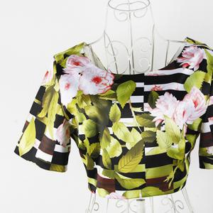 Vintage Scoop Neck Short Sleeves Floral Print Dress For Women - AS THE PICTURE S