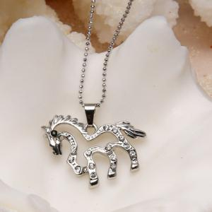 Cute Women's Rhinestone Openwork Horse Necklace -
