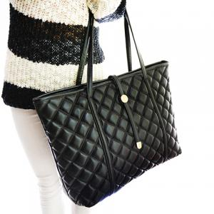 Trendy Black and Checked Design Women's Shoulder Bag -