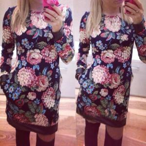 Slimming Long Sleeve Floral Mini Dress