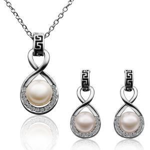 A Suit of Chic Women's Faux Pearl Rhinestone Eight Necklace And Earrings