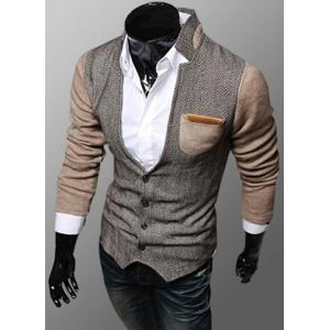 Trendy PU Leather Embellished Pocket Stand Collar Slimming Fabric Splicing Long Sleeves Men's Coat