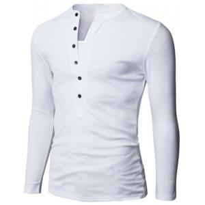 Stylish V-Neck Slimming Button Design Fabric Splicing Long Sleeve Polyester Polo Shirt For Men - WHITE L