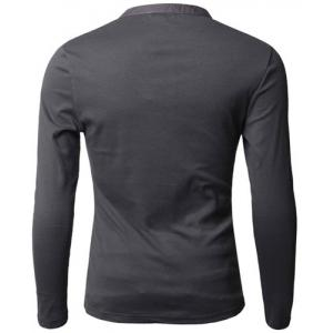 Stylish V-Neck Slimming Button Design Fabric Splicing Long Sleeve Polyester Polo Shirt For Men - DEEP GRAY M