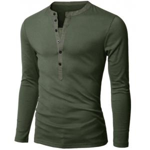 Stylish V-Neck Slimming Button Design Fabric Splicing Long Sleeve Polyester Polo Shirt For Men - Army Green - L