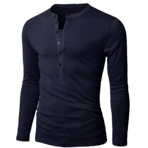 Stylish V-Neck Slimming Button Design Fabric Splicing Long Sleeve Polyester Polo Shirt For Men - CADETBLUE XL