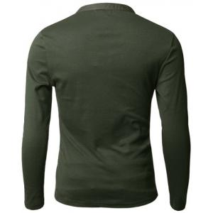 Stylish V-Neck Slimming Button Design Fabric Splicing Long Sleeve Polyester Polo Shirt For Men - ARMY GREEN L