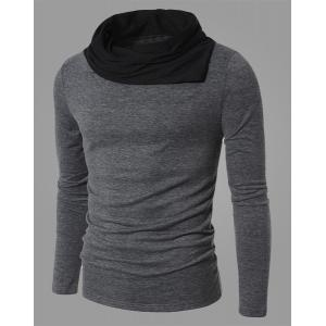 Fashion Color Block Personality Heaps Collar Slimming Long Sleeves Men's Cotton Blend T-Shirt