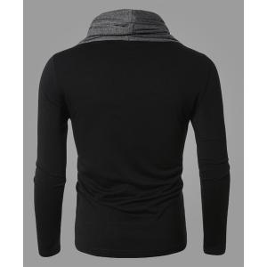 Fashion Color Block Personality Heaps Collar Slimming Long Sleeves Men's Cotton Blend T-Shirt - BLACK L