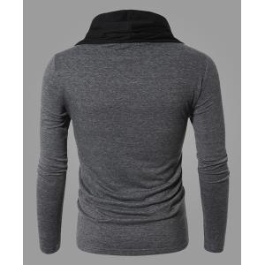 Fashion Color Block Personality Heaps Collar Slimming Long Sleeves Men's Cotton Blend T-Shirt - GRAY XL