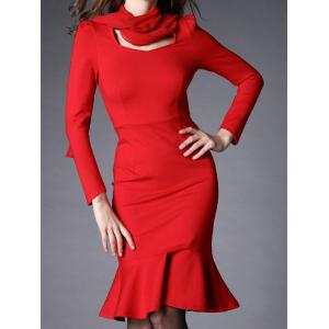 Bow Collar Flounce Mermaid Dress with Long Sleeves - RED XL