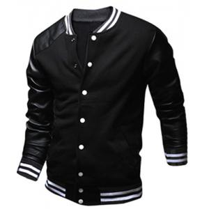 Stylish Stand Collar Slimming Color Block PU Leather Splicing Long Sleeve Polyester Jacket For Men