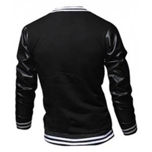 Stylish Stand Collar Slimming Color Block PU Leather Splicing Long Sleeve Polyester Jacket For Men - BLACK XL