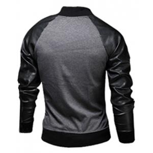 Stylish Stand Collar Slimming Pocket Design Fabric Splicing Long Sleeve Polyester Jacket For Men -