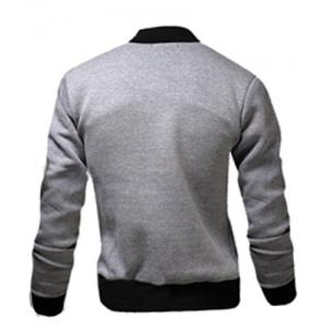 Stylish Stand Collar Slimming Color Block Rib Splicing Long Sleeve Polyester Jacket For Men -