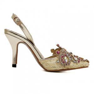 Gorgeous Rhinestones and Lace Design Women's Pumps -