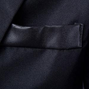 Stylish Lapel Slimming One Button PU Leather Splicing Long Sleeve Polyester Blazer For Men -