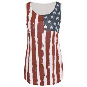 Patriotic USA Flag Print Tank Top - Colormix - 3xl