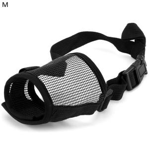 Adjustable Gridding Dog Anti - biting Pet Mask Fabric Muzzle - Black - M