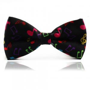 Chic Colorful Musical Note Design Bow Tie For Men - Black - 3xl