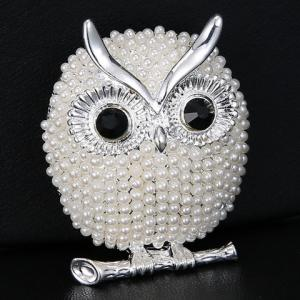 White Golden Faux Pearl Alloy Owl Brooch Rosegal Com